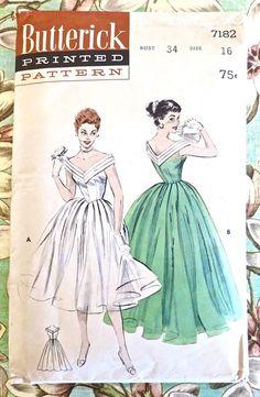 Butterick 7182 Vintage 1950s Evening Dress Pattern by Fragolina