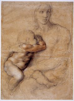 """'Unfinished cartoon for a Madonna and Child' by Michelangelo, depicting a seated woman nursing a child. Seen at The Met, """"Michelangelo: Divine Draftsman and Designer,"""" Michelangelo, Madonna Und Kind, Madonna And Child, Art Ninja, Italian Sculptors, Chef D Oeuvre, Old Master, Life Drawing, Daily Drawing"""