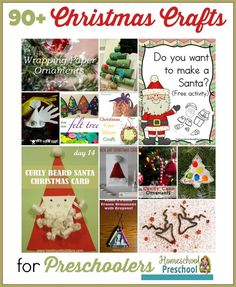 This is the ultimate list of preschool Christmas crafts! There are 95 amazing crafts and activities to choose from!   http://homeschoolpreschool.net
