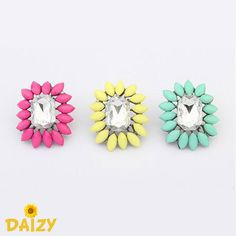 Square Fierce Flower Stud Earrings Shourouk Inspired - Available in 3 colours