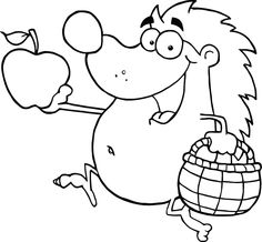 Happy hedgehog runs with apple coloring pages for kids printable sheet