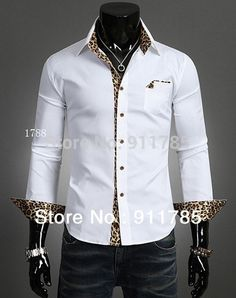 2015 new Fashion Urban  leopard Splicing long-sleeved shirts men,casual slim fit shirts for men,mens camisa,freeshipping ,M-XXL
