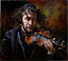 FIDDLER _ Andrew Atroshenko Oil on Canvas Original Painting