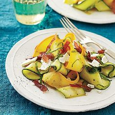 Shaved Summer Squash Salad with Prosciutto Crisps | CookingLight.com