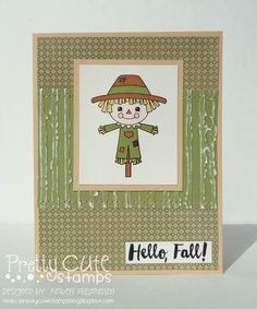 Supplies: Cardstock- Tan, Ivory, Olive / CTMH Patterned Paper Pack- Huntington / Pretty Cute Stamps Clear Stamp Set- Harvest Happiness / Ranger Archival Ink Pad- Jet Black / CTMH Markers / Sizzix Embossing Folder / Sulky Thread- Tan / Sand Paper To Distress / Sewing Machine #PrettyCuteStamps