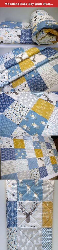 Woodland Baby Boy Quilt Rustic Crib Bedding, Buck and Antlers. This baby boy crib quilt has a rustic woodland charm with blue fabrics and a pop of gold/mustard. In this quilt you will find birch trees, deer, buck, antlers, arrows and more. Quilt measures 33 x 46 inches. I've professionally constructed and quilted this quilt in a newer modern style sure to please new mothers! The batting used is cotton with a touch of polyester that helps with durability. The quilt back is a very soft and...