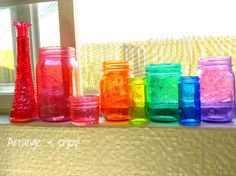 Small Life, Slow Life: How to Make DIY Colored Mason Jars! {Photos!}   small life, slow life