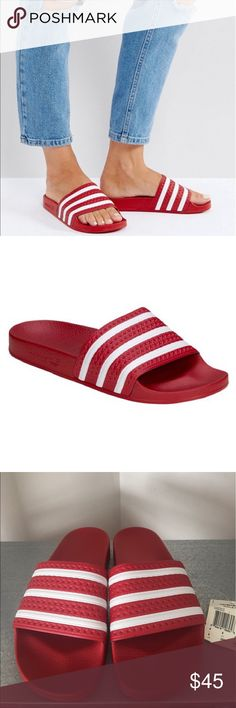 NWOB Adidas Original Adilette Slides Red M 8 W 10 NEW Adidas ADILETTE Slides Sandals Mens Red/White 288193 Purchased from footlocker last year never wore, no longer have box. Still has tags, condition is NEW the left foot does have a very faint crease as circled in pic but nothing crazy. Size is a Mens 8 Womens 10 Single-band textile upper Molded footbed for comfort Comfortable textile lining Textured outsole for grip Red/White Brand new with tags, NO Box. NO TRADES adidas Shoes Heels