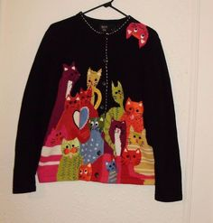 Vintage Colorful Crazy Cat Lady Cat Lover Knit Print Sweater, Large #CAT #Cardigan