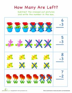 Spring Kindergarten Subtraction Worksheets: Subtraction for Visual Learners: Easter Subtraction Kindergarten, Addition And Subtraction Worksheets, Kindergarten Math Worksheets, Teaching Manners, Basic Math, Math For Kids, Math Classroom, Math Skills, Planting
