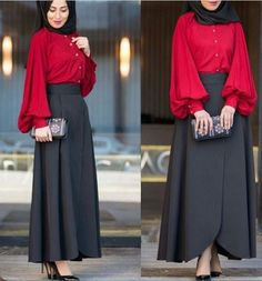 Black skirt and tomato red blouse - check out: Esma