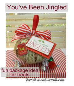 (Freebie) Christmas You've Been Jingled printable and tags + Cute Way to Package Treats for Neighbor Gifts, Family & Friends