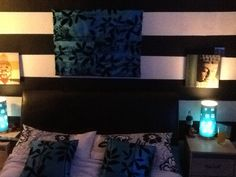 Just decorated my room black and white stripes with shots of teal! Love it
