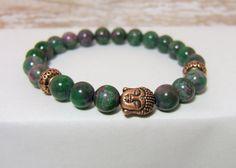 "Rainbow Jade Gemstone Bracelet ~ 8 mm Rainbow Jade with Copper Buddha & Spacer Beads ~ stretch cord, 7.5"" www.sgtpepperscreations.etsy.com #gemstonebracelet #stacking bracelets #RainbowJade # Buddhajewelry #copperjewelry"