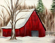 Winter Red Barn painting in the snow. Red Barn Painting, Winter Painting, Winter Art, Painting Trees, Simple Acrylic Paintings, Easy Paintings, Canvas Paintings, Christmas Paintings, Christmas Art