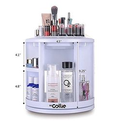 HiCollie MakeupCosmetic Organizer Equipped 360 Rotating Revolving Cosmetic Storage Tabletop Big Capacity Carousel New Sturdy Stylish 2016 White -- Visit the image link more details.