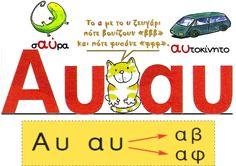 Greek Language, Speech And Language, Learn Greek, Greek Alphabet, Letter Activities, School Lessons, First Grade, Grammar, Elementary Schools