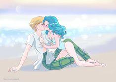 Haruka and Michiru by NataliPo Sailor Neptune, Sailor Uranus, Sailor Moon Art, Sailor Moon Crystal, Sailor Mars, Yuri Anime, Old Anime, Sailor Scouts, Magical Girl