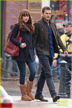 Jamie Dornan & Dakota Johnson Hold Hands to Reshoot 'Fifty Shades' After the Rain