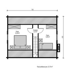 Jaskółka II - Domy drewniane letniskowe - DREWNEX Floor Plans, Houses, Projects, Floor Plan Drawing, House Floor Plans