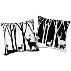 Naked Decor Day and Night in the Forest Reversible Pillow ($50) found on Polyvore