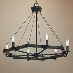 "Blacksmith Collection 28"" Wide Iron Chandelier"