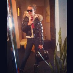 This hottie is ready to go wearing her sexy puffy jacket. #puffyjacket #puffycoat #puffy #puffer #coat #jacket #black #shiny #love #like #blonde #girl #hot #sunglasses #wintercoat #winterfashion #winter #fashion