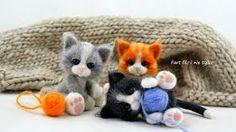 Fart filc i nie tylko Needle Felted Cat, Needle Felted Animals, Felt Animals, Crochet Toys Patterns, Stuffed Toys Patterns, Embroidery Patterns, Needle Felting Tutorials, Baby Animals Pictures, Felt Cat