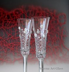 #Wedding #Champagne #Glasses Flute Toasting Hand by NevenaArtGlass
