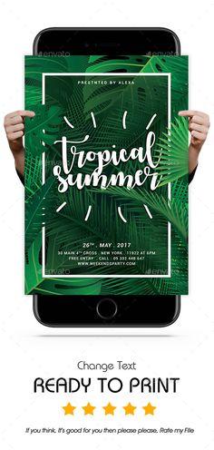 Tropical Summer Flyer Template PSD