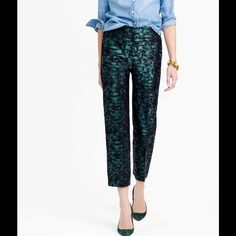 """JCrew patio pant in evergreen jacquard Fitted through the hip and thigh with a straight, cropped leg, wider leg, a hint of shimmer, brand new with tags, inseam 25"""" J. Crew Pants Ankle & Cropped"""