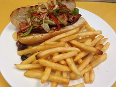 Portuguese Linguica Sandwich with sautee onions and pepper - at Fernando's Dockside Grille Portuguese Sausage, Portuguese Food, Portuguese Recipes, Mediterranean Recipes, Clams, Onions, Hamburger, Sandwiches, Restaurant