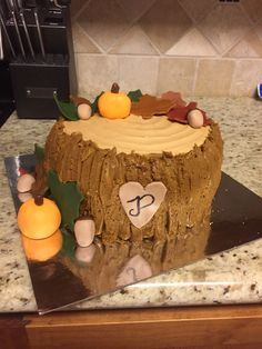 Fall tree stump smash cake