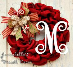 Christmas Wreath Red Burlap Wreath Fancy Bow by JennaBelles Christmas Door Wreaths, Holiday Wreaths, Holiday Crafts, Christmas Decorations, Holiday Decor, Winter Wreaths, Santa Wreath, Dyi, Fancy Bows