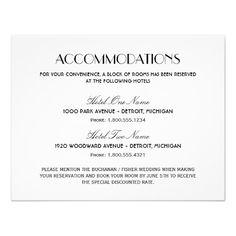 Accommodations Card Wedding | Wedding Accommodation Card Art Deco Style Future Wedding Ideas