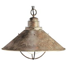 Kichler Nautical Pendant Light in Olde Brick Finish with Bulb Cage - ceiling lighting - by Destination Lighting Transitional Pendant Lighting, Rustic Pendant Lighting, Light Pendant, Pendant Lamps, Rustic Lamps, Bronze Pendant, Ceiling Pendant, Industrial Lighting, Rustic Decor