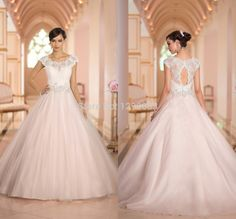 Vintage Bridal Gown with Short Sleeves and Beaded Lace Keyhole Back Organza Princess Wedding Dresses 2014 Chapel Train