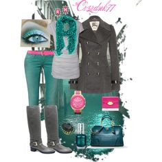 Teal Grey and Pink, created by crzrdnk77 on Polyvore