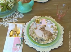 Lovely spring tablescape featuring vintage jadeite dishes mixed with thrift store finds and newer pieces.