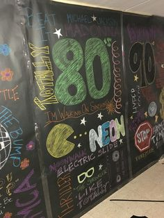 1980s themed collage, chalkboard effect, dance theme week, dance through the decades