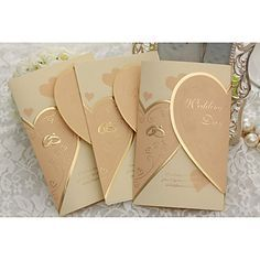 elegant wedding invitation gold hearts - set of 50 - USD ...