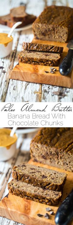 Paleo Chocolate Almond Butter Banana Bread - This easy, healthy Paleo banana bread is made extra delicious with almond butter and chocolate! It's a gluten free, portable breakfast or snack! | Foodfaithfitness.com | @FoodFaithFit