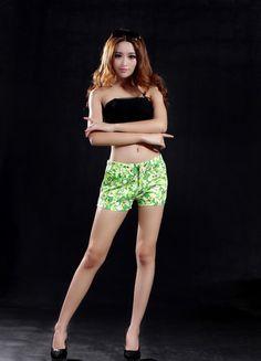 Green Fancy Cotton Printed Short  $31.19 Cotton Shorts, Printed Shorts, Short Dresses, Fancy, Sexy, Green, Prints, Fashion, Short Gowns