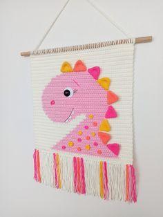 Crochet Wall Art, Crochet Wall Hangings, Crochet Home Decor, Tapestry Crochet, Crochet Hooks, Crochet Dinosaur, Crochet Lion, Crochet Baby, Creative Textiles
