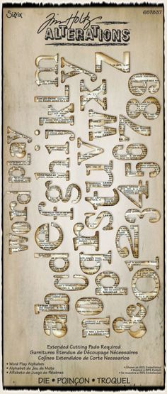 This new Word Play die from Tim Holtz is a fabulous, versatile font in a great size, and the steel rule die will cut all sorts of materials. I can't wait to get my hands on it.