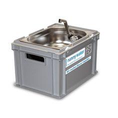 Eurobox Waschbecken grau aus Kunststoff (lebensmittelzugelassen) mit geschlossenen Seitenwänden und Boden, 2 Eingriffe,45 mm Druchführung für Verso...