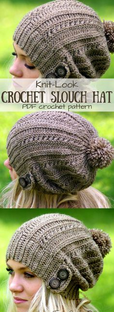 Awesome knit-look crochet slouch hat pattern! This is great! I love the button details and the cable-look stitch pattern! Gorgeous winter beanie!