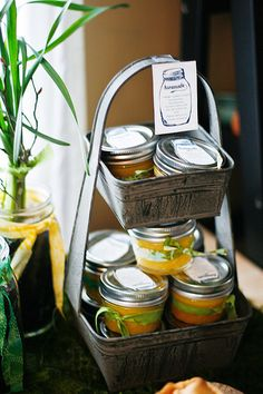 Homemade Meyer lemon curd and mini apple tarts in a canning jar. I love this.