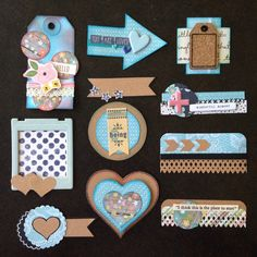Card Candy: Kraft and blue - Handmade embellishments for scrapbooks, project life, planners, smashbooks, junk journals and more.
