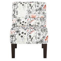 Armless Chair Winter Botanical Red - Skyline Furniture